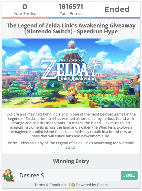 Speedrun Hype's Legend Of Zelda Link's Awakening Giveaway Final Results